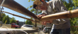 Matt Wilkins building a bicycle frame out of bamboo