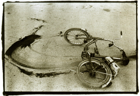 Bloody Bicycle by Annie Leibovitz sourced from the blog, Venetian Red